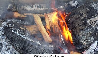 Charcoal and firewood burning in a grill, close up footage.