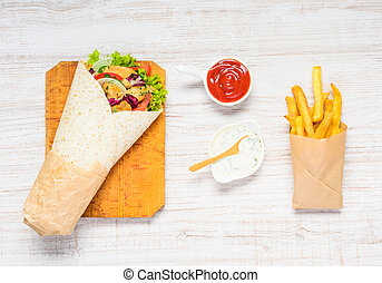 Shawarma and French Fries - Shawarma Sandwich with French...