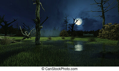 Creepy swamp at dark misty night - Sinister fairytale...