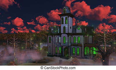 Spooky haunted mansion at eerie sunset - Eerie sunset clouds...