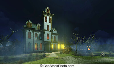 Old haunted mansion at misty night - Old scary haunted...
