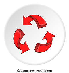 Red recycling symbol icon, cartoon style - Red recycling...