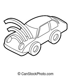Car with wifi sign icon, outline style - icon in outline...