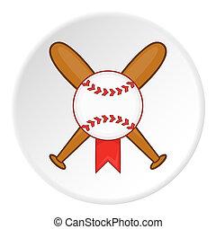 Baseball bat and ball icon, cartoon style - icon. ?artoon...