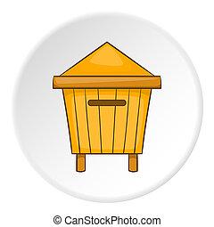 Wooden beehive icon, cartoon style - icon. ?artoon...