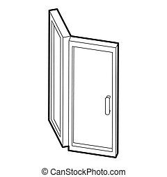 Door icon, outline style - icon in outline style on a white...
