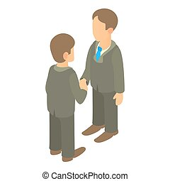 Two businessmen shaking hands icon, cartoon style - Two...
