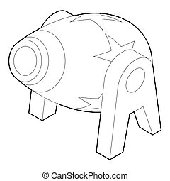 Circus cannon icon, outline style - icon in outline style on...