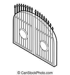 Gate icon, outline style - icon in outline style on a white...