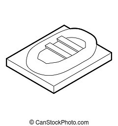 Inflatable boat icon, outline style - icon in outline style...
