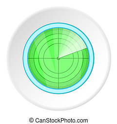 Radar icon, cartoon style - Radar icon. Cartoon illustration...