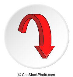 Red curved arrow down icon, cartoon style - Red curved arrow...