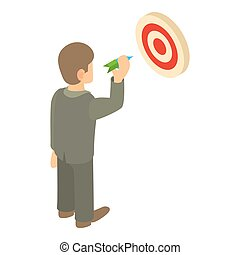 Businessman aiming at target icon