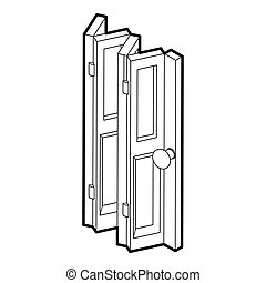 Folding door icon, outline style - icon in outline style on...