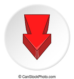 Red arrow icon, cartoon style - Red arrow icon. artoon...