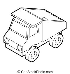Toy truck icon, outline style - icon in outline style on a...