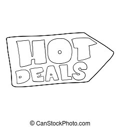 Hot deals direction sign icon, outline style - icon in...