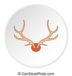 Antlers icon, cartoon style - icon. ?artoon illustration of...