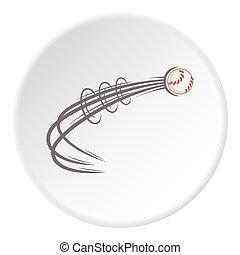 Baseball ball fly icon, cartoon style - icon. ?artoon...