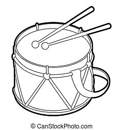Toy drum icon, outline style - icon in outline style on a...