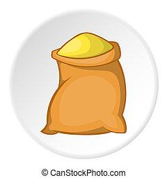 Sack of flour icon, cartoon style