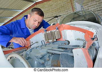 focused aircraft mechanic