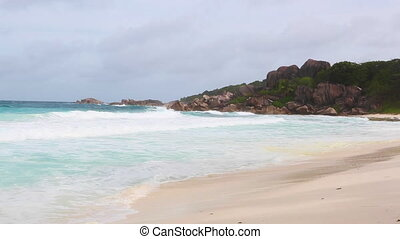 Tropical sea coastline at La Dique, Seychelles island