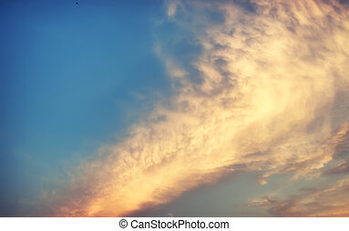 soft blue sky and sunset cloud