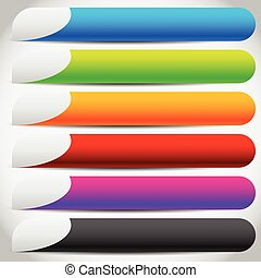 Colorful buttons, banners with side tabs. Empty button backgrounds.