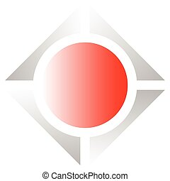 Bright geometric logo or icon with square and circle