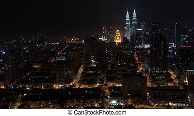 Timelapse of night city of Kuala Lumpur, Malaysia -...