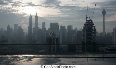 Timelapse of Kuala Lumpur, rooftop pool view - Timelapse...