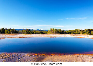 Grand Prismatic Spring landscape view in Yellowstone...