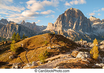 Tofana range after the sunset , Dolomite Alps, Italy