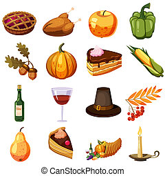 Thanksgiving Day icons set, cartoon style - Thanksgiving Day...