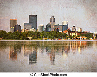 Minneapolis Skyline from Lake Calhoun - Minneapolis,...