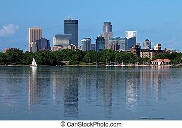 Minneapolis Skyline from Lake Calhoun - Downtown Minneapolis...