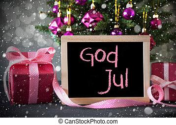 betyder, Gud, Sneflager, træ, jul, bokeh, gaver, Merry, Jul...