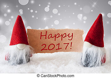 Red Gnomes With Card And Snow, Text Happy 2017 - Christmas...