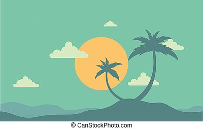 Silhouette of two palm at sunset