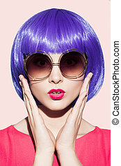 Pop Art Woman Portrait Wearing Purple Wig. - Pop Art Woman...