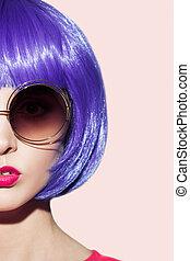 穿, 婦女, 藝術, 紫色, 流行音樂, 假發, 肖像