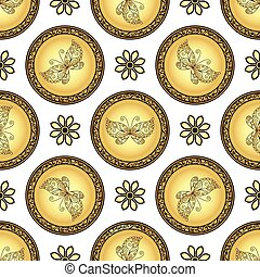 Gold and browne seamless pattern with gradient vintage...