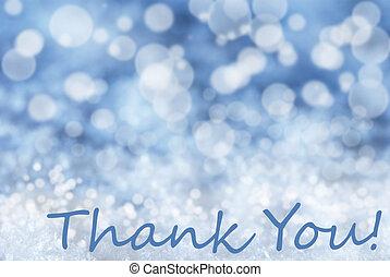 青, 感謝しなさい, テキスト,  bokeh, 雪, 背景, あなた, クリスマス