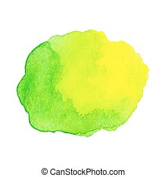 Abstract watercolor green and blue hand drawn texture, isolated on white background, vector
