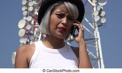 Angry Woman Talking On Cell Phone