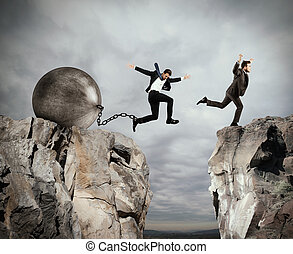 Injustice in business competition - Man jumps between two...