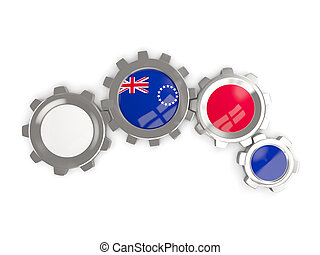 Flag of cook islands, metallic gears with colors of the flag...