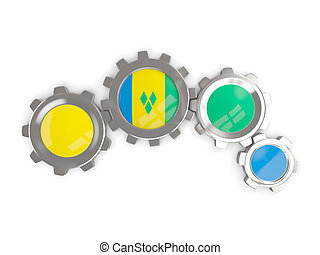 Flag of saint vincent and the grenadines, metallic gears...