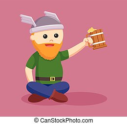 fat viking soldier holding beer